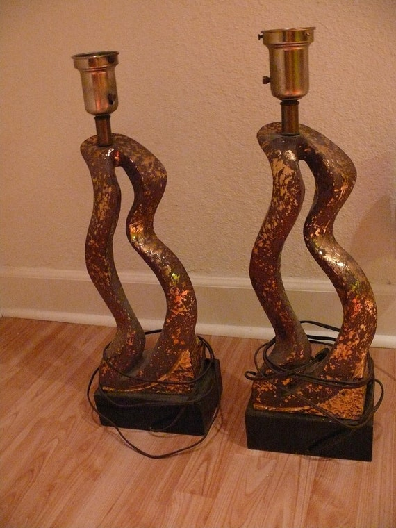 Pair of Modern Mid-Century Copper Abstract Plaster Sculpture Table Lamps Organic Freeform Shapes