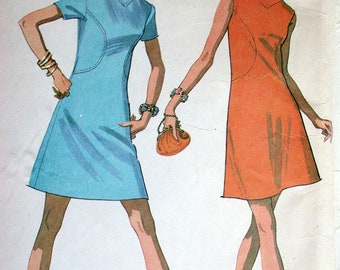 """McCalls Dress Pattern No 2226 Vintage 1960s Size 16 Bust 38"""" Sleeveless or  Short Sleeves Back Zipper A  Line Front Shaped Seaming"""