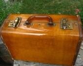 Mid Century Caramel Colored Small Luggage - Vintage Hard Plastic 1940's Suitcase