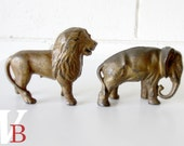 50% Off Sale - Antique Cast Iron Lion and Elephant Banks - Old - Vintage - Animals - Brass Colored - Animal Lover - Circus Animals