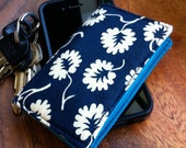Cotton Bifold Card Wallet -- NavyFlowers and Turquoise