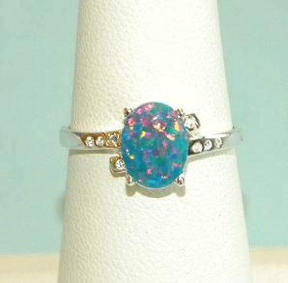 Australian Blue Fire Authentic Opal Ring Sterling Silver 925 Band Size 8 ip Take 20% Off