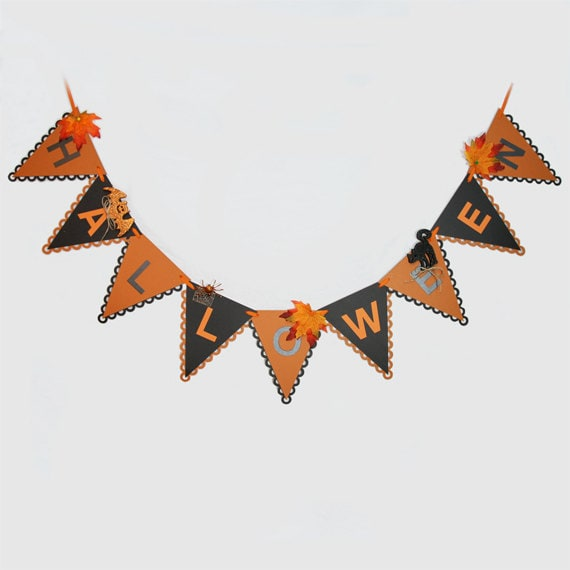 Halloween Banner Spiders Bats Black Cat Autumn Leaves Decoration FULLY ASSEMBLED and Ready To Ship