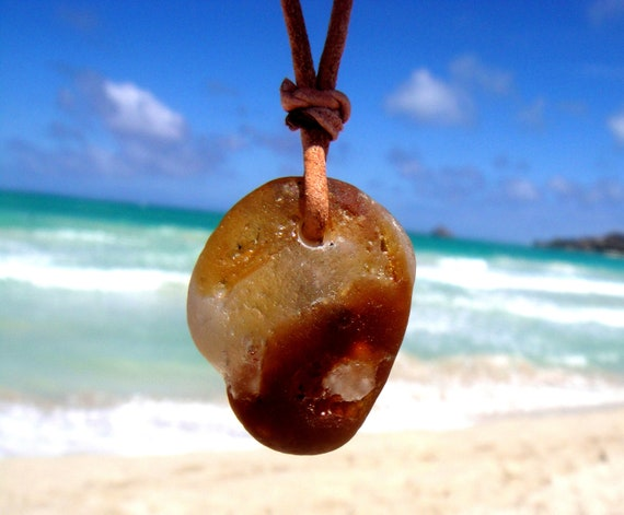 Hawaiian Very Unique and RARE Amber Brown & Clear Mutli-Color Bonfire Beach Glass on India Leather, completely adjustable, Necklace
