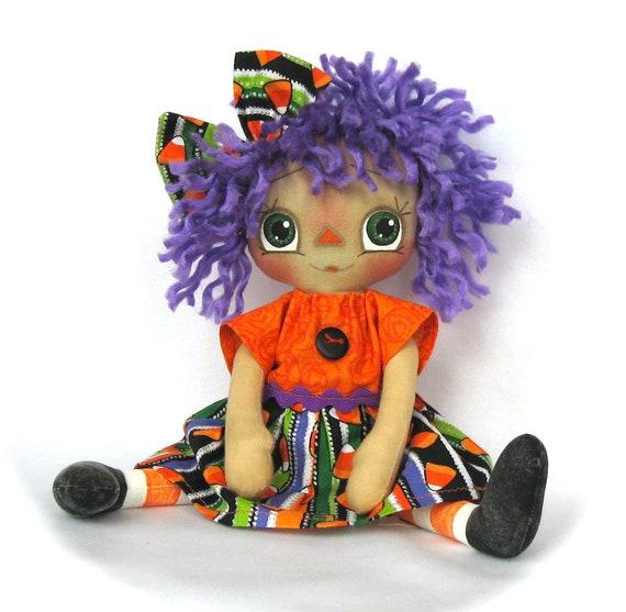 Primitive Raggedy Ann Doll - Halloween Candy Corn castteam