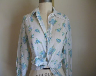 Summery Blue and White Floral Button Up Blouse