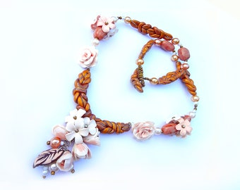Unique polymer clay country style jewelry set (necklace and bracelet)  in beige-brown color.