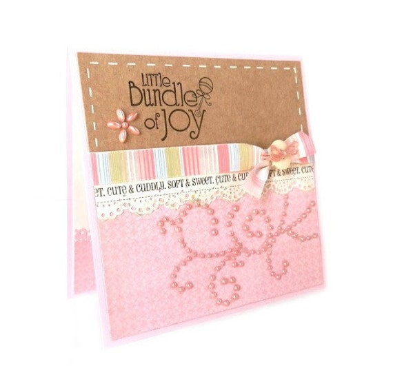 """Baby Girl Card - """"Little Bundle of Joy"""" Congratulations, Baby Shower, Baby Announcement - Handmade Greeting Card"""