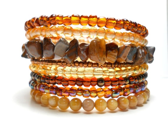 Memory Wire Bracelet Autumn Brown and Tan Stacked Bracelet Beaded Wrap Bracelet