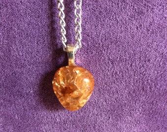Deep Orange crystal glass pendant.
