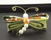 Vintage bead and fabric dragonfly barrette
