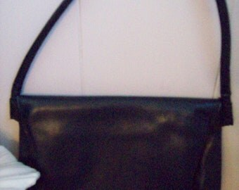 Navy Blue Leather Fold Over  Purse
