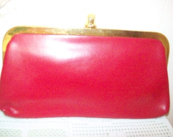 Nice Red Frame Clutch Purse with Change Purse