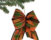 Kente Bow Ornaments - Set of 10 - Made with WIRED Cotton Kente Ribbon - Hook or Wire On - Made to Order!