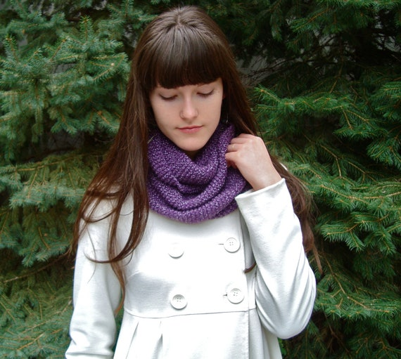 Knitted Infinity Scarf Dark Purple, Grape Jelly, Hand Knitted Autumn Super Soft Yarn