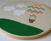 Hot Air Balloon Nursery Art- Embroidery Hoop Applique