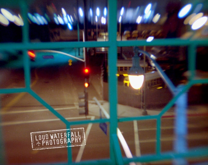 Downtown Los Angeles Metro At Midnight, Chinatown Lamp Posts, 8x10 Urban Abstract Photograph