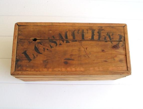 Primitive Vintage Card or Reciept box L.C Smith & Bros Typewriter