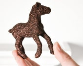 Brown Horse Glitter Wedding Farm Table Decoration for Weddings, Party Decoration Entertaining Birthday Party Cake Topper or Centerpiece