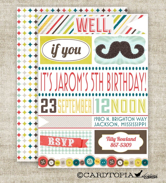 "Mustache Birthday Party Invitations ""Well If You Mustache..."" Boy Birthday Party Invitations Digital diy Printable Personalized - 105232472"