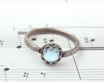 Blue Topaz Ring, Vintage Style Ring, Antique Style Ring, Swiss Blue topaz set in a Sterling Silver Crown, Custom created in your size, Ring