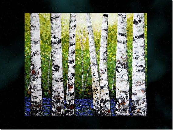 Original Contemporary Heavy Textured Painting.Impasto.Palette Knife.Landscape.Birches...FREE SHIPPING.....- by Nata S.