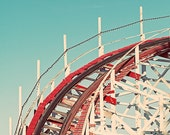 Boardwalk Photography, Retro Giant Dipper Rollercoaster Santa Cruz Photo, Square Print, Aqua Red White Roller Coaster Vintage Nursery Decor