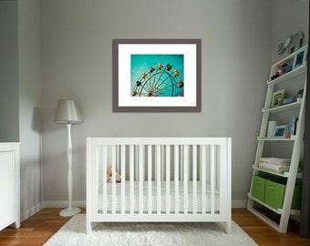 Carnival Nursery Art, Nursery decor, Carnival Photography, Aquamarine Teal Ferris Wheel Carnival Ride poster - Aquamarine Dream