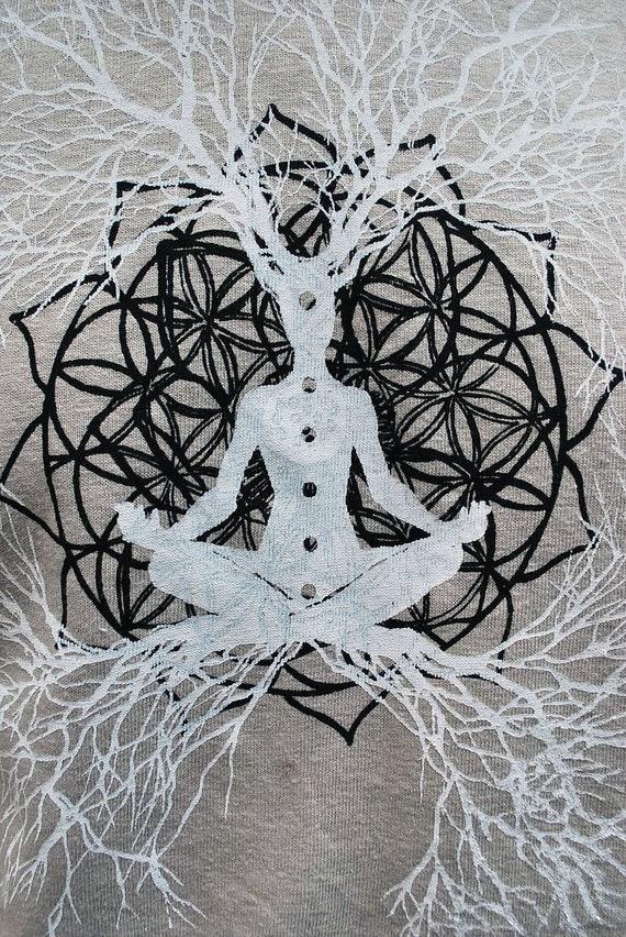 Flower of Life Heart Chakra / Tree of Life Hemp and Organic Cotton t-shirt - Mens Medium