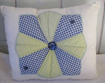 Pillow Vintage Quilt Block Pillow Blue and Lime Green on Muslin Home Decorative Retro Colors Accent Pillow