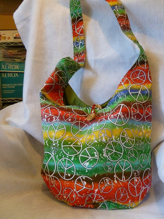 Over the shoulder Hobo Bag/ Purse - multi colored with peace signs