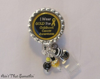 Childhood Cancer Awareness Retractable Badge Reel - Awareness ID Holder - Unique Badge Clips - Beaded ID Reels