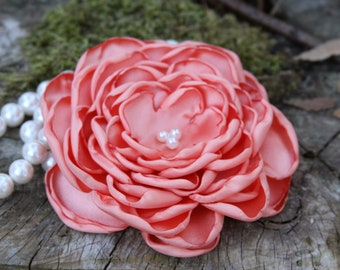 Large Peach Satin Flower Pin