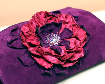 Purple Suede Clutch with Pink flower art.131