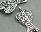 Angel Wing Charms Antique Silver tone 6pcs base metal feather 16X29mm CM0271S