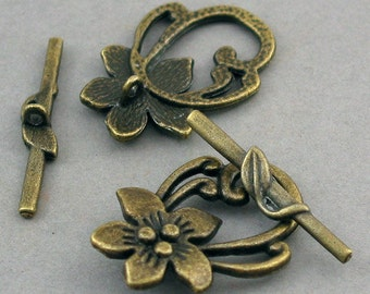 Flower Toggle Clasp Antique Bronze tone 4 sets base metal 20X29mm BS01018BC