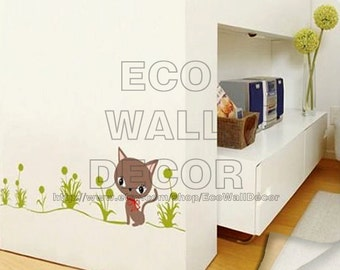 PEEL and STICK Removable Vinyl Wall Sticker Mural Decal Art - Kitten Cat with Grass
