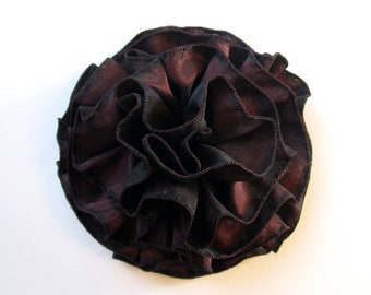 Two tone Black and Red Grosgrain Ruffled Flower Pin or Hair Accessory