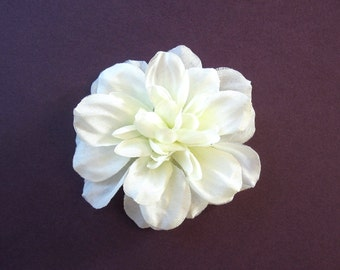 Small Ivory Fabric Flower Hair Accessory or Pin