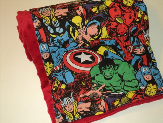 RESERVED ORDER FOR: Melissa Mathews. Child Size Super Hero Blanket, Marvel Comics Blanket, Minky And Cotton
