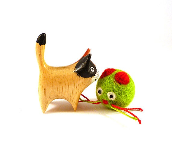 Christmas Green Kitty Wool Catnip Cat Toy
