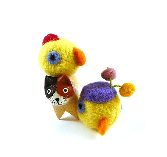Mr. and Mrs. Chicken Wool Catnip Cat Toys