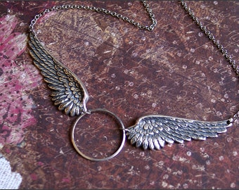 Angel Wing Necklace -GORGEOUS DETAILED PENDANTS -Meaningful Wife, Mother, Daughter, Sister Gift 'Halo' by RevelleRoseJewelry