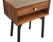 Walnut Side Table and Drawer