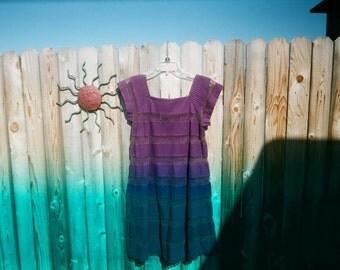 Vintage Mexican Crochet Tachi Castillo pin tucked dress