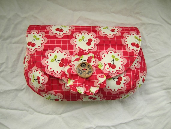Summer fruit clutch red strawberries and cherries pattern snap closure wooden button
