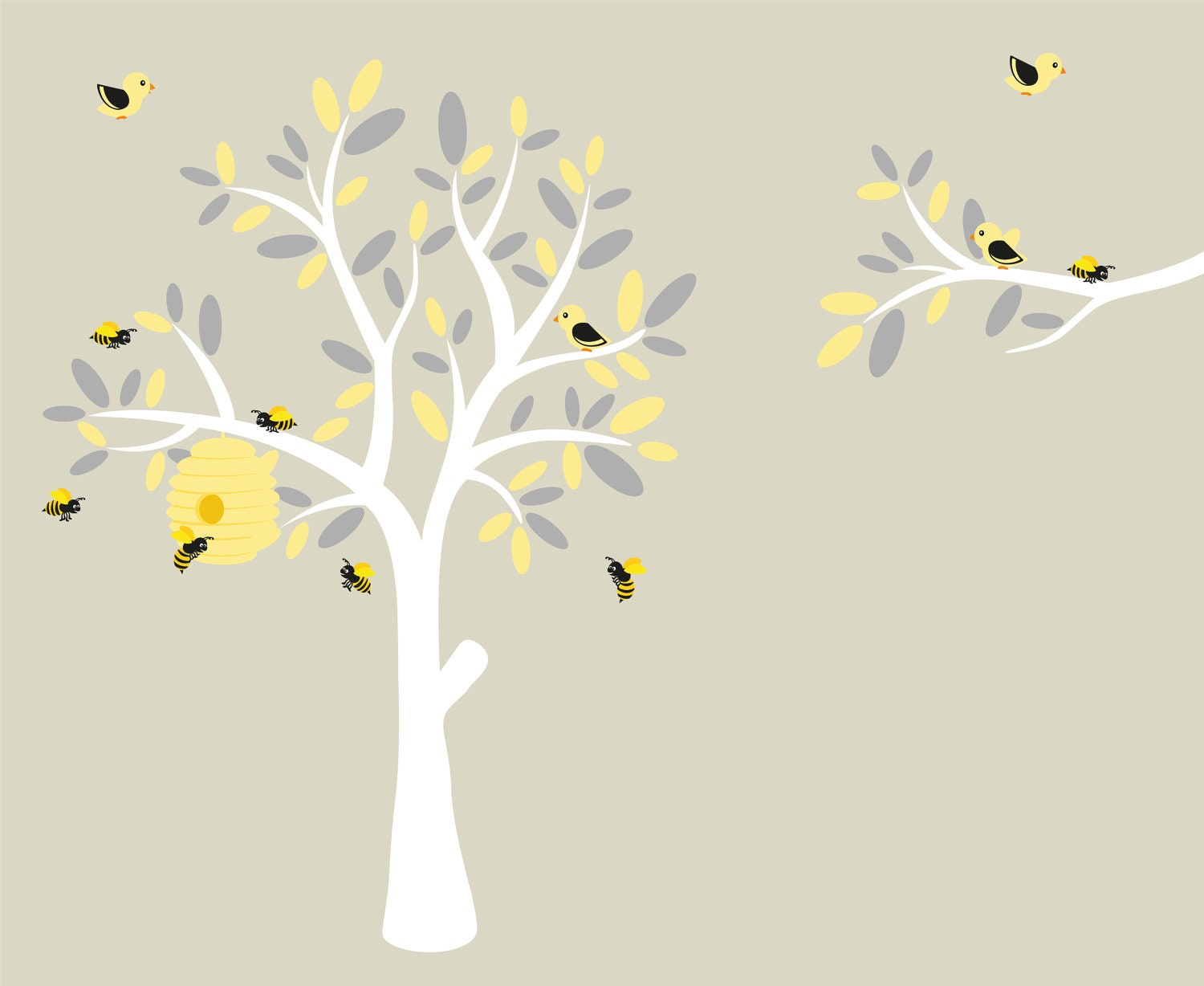 Nursery decals wall decals vinyl tree modern decals for Bumble bee mural