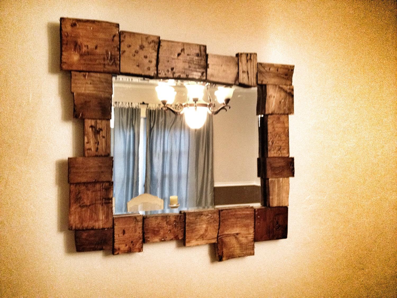 Rustic Distressed Wood Mirror