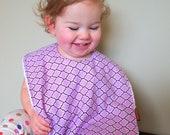 Baby bib Toddler lilac girls cotton terry cloth snap bib pretty