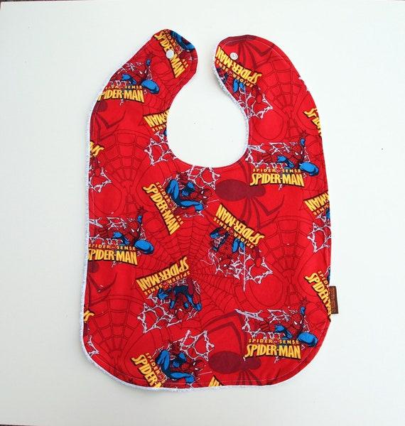 spiderman bib big toddler bib red cotton terry cloth snap